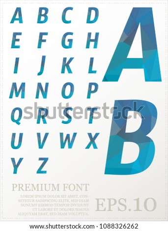 Font vector lowpoly design style illusstration eps.10 #1088326262