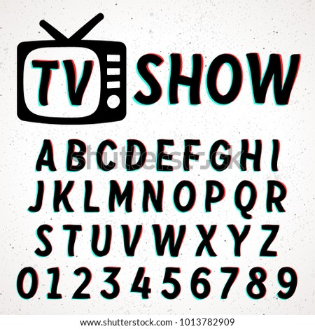 Font with glitch and 3D effect. Vector distorted retro CRT screen