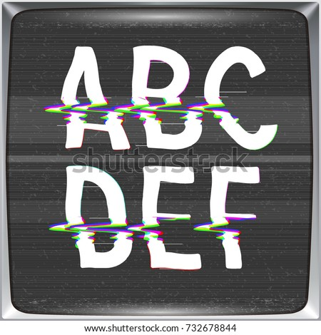 Font with glitch effect on TV screen background. Vector distorted letters from A to F on retro CRT screen