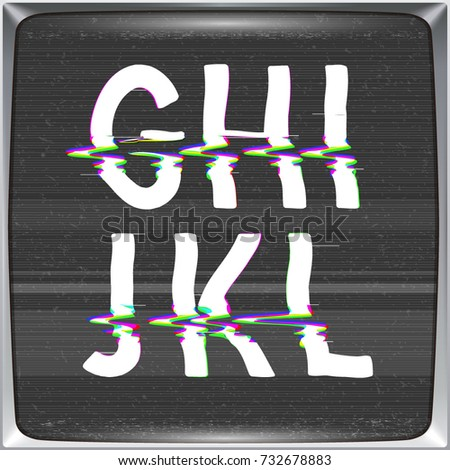 Font with glitch effect on TV screen background. Vector distorted letters from G to L on retro CRT screen