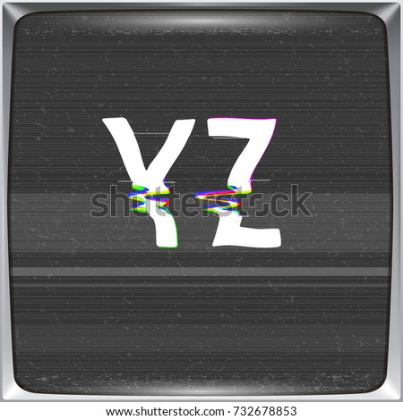 Font with glitch effect on TV screen background. Vector distorted letters from Y to Z on retro CRT screen