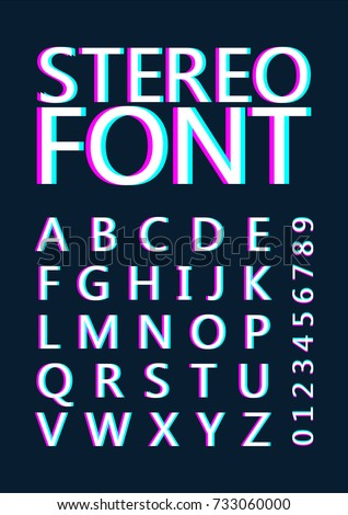 Font with stereoscopic effect. Alphabet. The letters with the color pink and blue