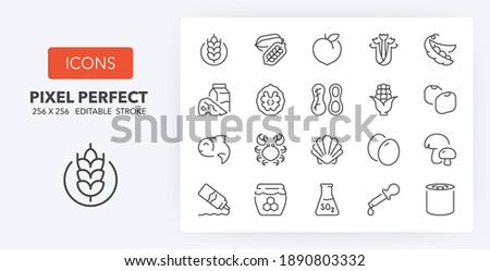 Food allergens, including the 14 allergies outlined by the EU European Food Safety Authority which encompass the big 8 FDA Major Allergens. Thin line icon set. Outline symbol collection. Editable