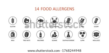 Food allergens set icons. Glyph vector infographic banner. Gluten free eggs fish clams soy mustard. Milk lupine celery peanuts nuts sesame sulphur dioxide crustaceans Foto stock ©