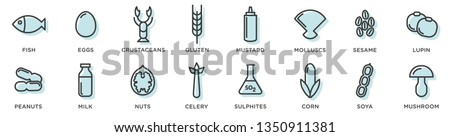 Food allergy icons. Basic allergens and diet line icons vector set. Isolated on white background  Foto stock ©