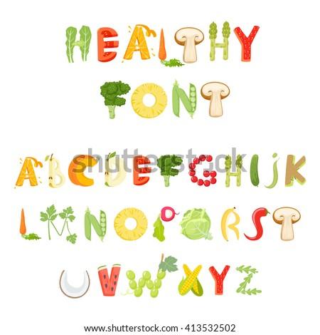 Food alphabet made of vegetables and fruits. Font. Healthy letter. Vector letter.