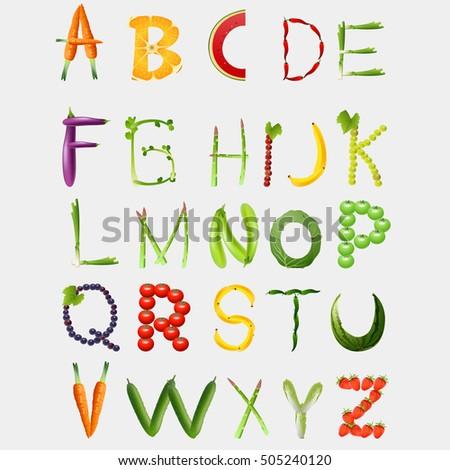 Food alphabet made of vegetables and fruits. Healthy food vegetables letter