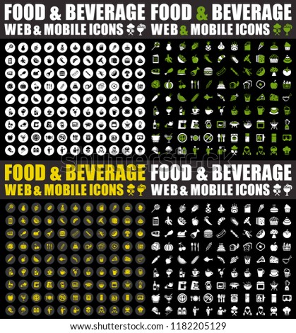 food and Beverage icons - Icons for food and drink, restaurant, cafe and bar, food delivery