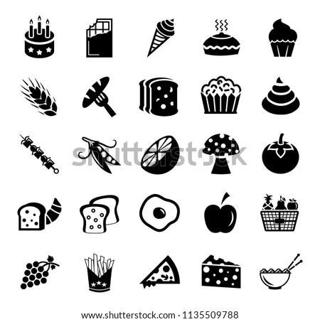 Food and beverage icons, restaurant menu, drink coffee, healthy food