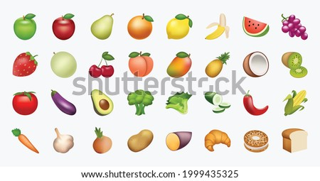 Food and beverages, fruits symbols, emojis, emoticons, stickers, icons Vegetables, cakes, vector illustration flat icons set, collection, pack