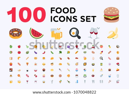 Food and beverages, fruits symbols, emojis, emoticons, stickers, icons Vegetables, fast foods, cakes, restaurant, cafe vector illustration flat icons set, collection, pack