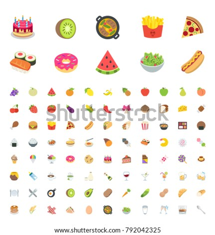 Food and beverages, fruits, vegetables, fast foods, cakes, restaurant, cafe vector illustration flat icons, symbols, emoticons, stickers - Shutterstock ID 792042325