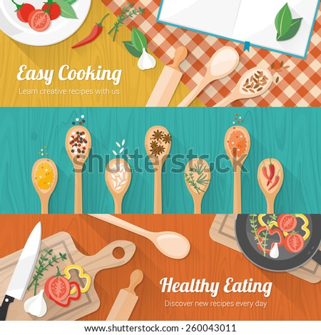 Food and cooking banner set with kitchenware utensils, spices and vegetables on wooden table worktop
