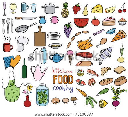 Food and cooking color icons vector collection