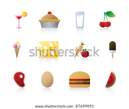 Food and delicious cupcake logo icon set