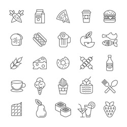 Food and dessert outline collection. Set of vector black outline icons food for cafe and restaurant. Minimal thin line icon of vegetables, fruits, drinks, fast food, bakery, dish and desserts isolated