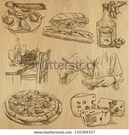Food and drink around the World (part 2). Collection of hand drawn illustrations (originals, no tracing). Description: Each drawing comprise of two layers of outlines, colored background is isolated.