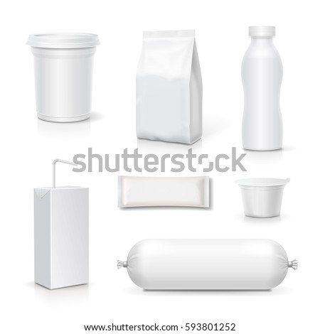 Food and drink blank packaging set. Snack pack template products realistic vector