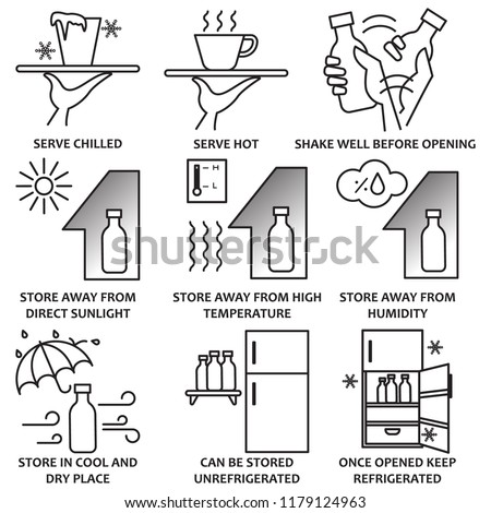Food and drink cautions symbols, Nine icons of food cautions, Solid icon of food and drink storage cautions, Gray scale of food caution symbol icons, Vector illustration