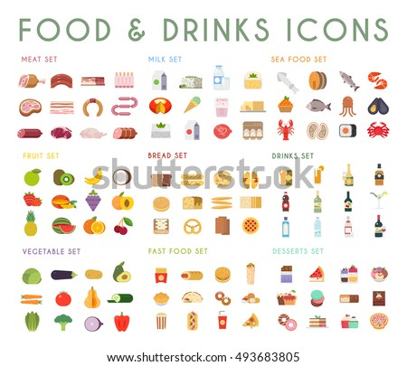 Food and drink flat vector icons set. Meat, milk, bread, seafood, fruits, vegetables, alcohol, fast food, dessert.