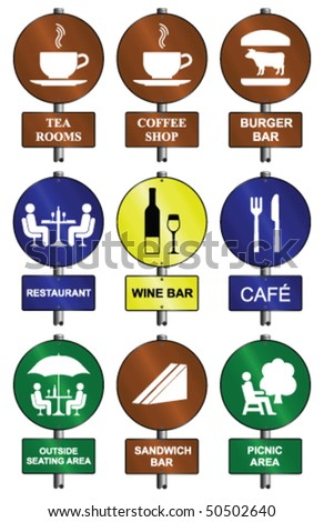 Food and drink graphic and text sign collection mounted on post