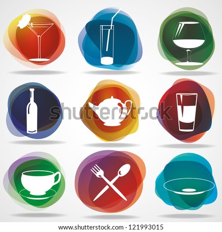 Food and drink icons. Eps10 .Image contain transparency and various blending modes