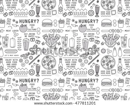 FOOD AND DRINK ICONS PATTERN. Vector illustration file. Can use for restaurant brand elements.  wallpaper, paper print, packaging...