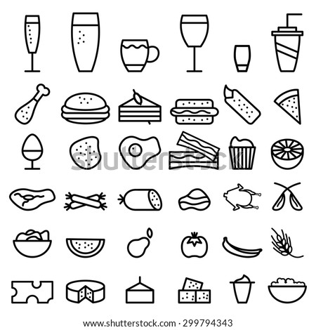 food and drink line craft icons