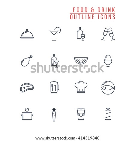 Food and Drink Outline Icons