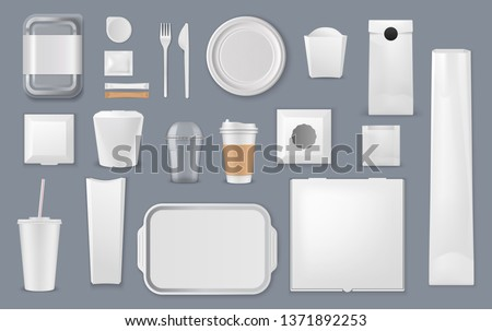 Food and drink packaging vector mockups. Blank templates of takeaway boxes, plastic packs and foam containers, paper bags, cups and trays, cardboard plates, fork and knife, sugar sticks and foil pouch