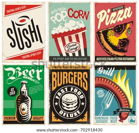 Food and drink posters collection. Pizza, popcorn, burgers, grill, beer and sushi. Retro food banners set.