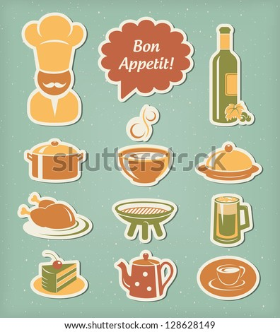 Food and drink restaurant menu icons set
