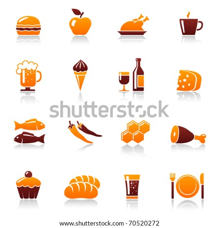 Food and drink vector icon set. Hamburger, apple, chicken, coffee cup, beer mug, ice cream, wine bottle, cheese, fish, pepper, honey, meat, cake, bread, soda, fork, plate, knife pictogram