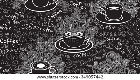 Food and drink vector seamless pattern with various coffee for Coffee table texture