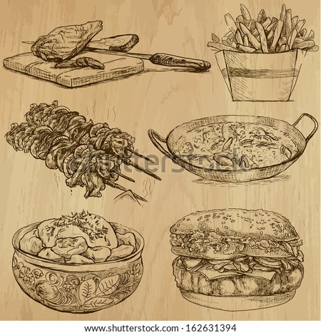 Food And Drinks Around The World (Set No. 5) - Collection Of An Hand Drawn Illustrations. Description: Each Drawing Comprise Of Two Layer Of Outlines, Colored Background Is Isolated.