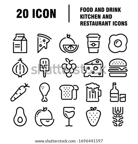 Food and drinks icon. Restaurant line icons set. Collection of restaurant thin line icons. Vector illustration.