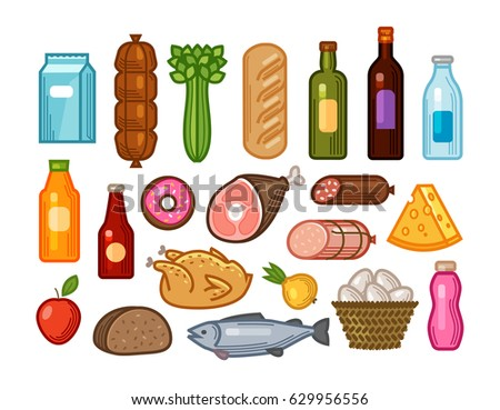 Food and drinks icons set. Grocery shopping concept. Vector illustration drawn in flat design style