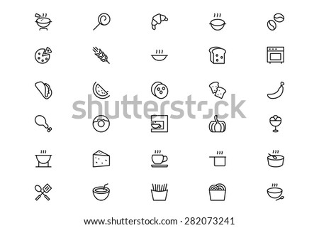 food and drinks line vector