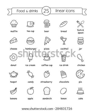 food and drinks linear icons