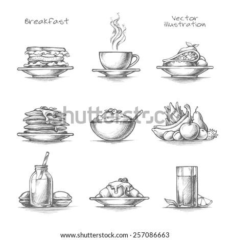 food and drinks set breakfast