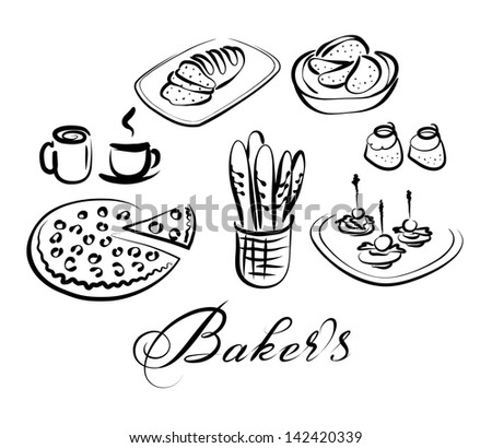 Food And Drinks Vector Icon Set Bakers Theme