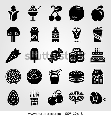 food and drinks vector icon set