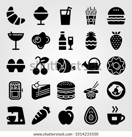 Food And Drinks vector icon set. croissant, wine, cake and carrot
