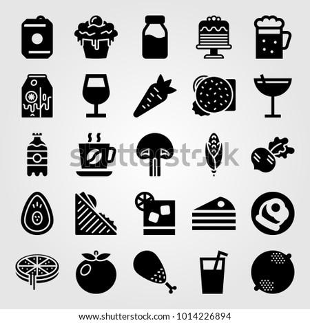 Food And Drinks vector icon set. radish, coffee, burger and chicken leg