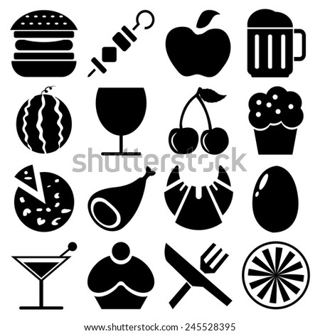 Food and Fruit and Drink icons set great for any use. Vector EPS10.