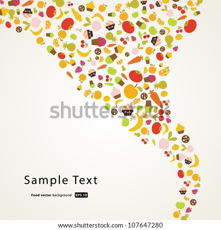 food and fruit pattern background,vector illustration