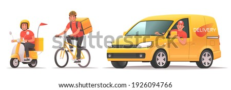 Food and goods delivery service. Online ordering and tracking in the mobile application. Happy courier rides a scooter, bike and van. Vector illustration in cartoon style Stock photo ©