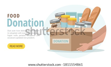 Food and grocery donation concept. Charity, food donation for needy and poor people. Vector web banner.