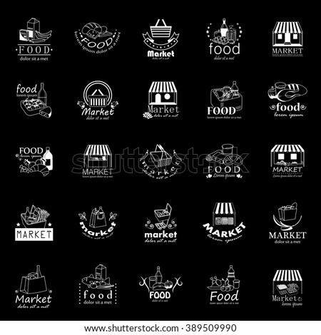 Food And Market Icons Set-Isolated On Black Background:Vector Illustration,Graphic Design.For Web,Websites,App,Print,Presentation Templates,Mobile Applications And Promotional Materials.Shopping Tag - Shutterstock ID 389509990