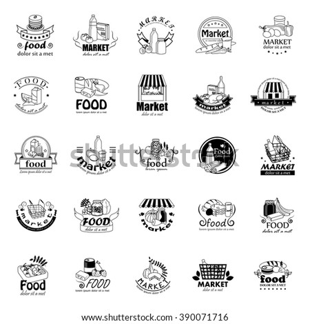 Food And Market Icons Set-Isolated On White Background:Vector Illustration,Graphic Design.For Web,Websites,App,Print,Presentation Templates,Mobile Applications And Promotional Materials.Shopping Tag